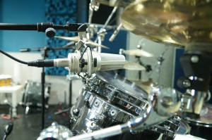 Audio-Technica AT4047 on Jeff Bowders Tama drum kit at Ultiamte Studios, Inc.