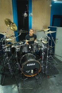 Jeff Bowder's and his Tama drum set at Ultimate Studios, Inc filiming FullOnDrums.com Session Report