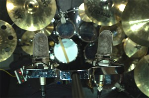 Audio-Technica AT4080 Ribbon mics on overheads of Jeff Bowder's Tama drumset at Ultimate Studios, Inc